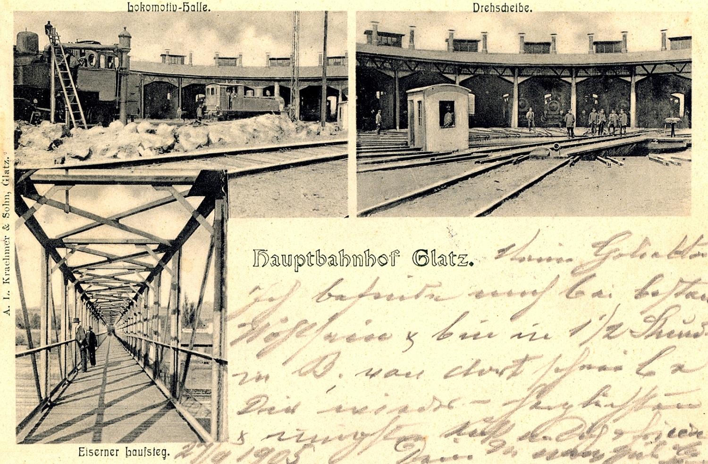 Parowozownia Kłodzko (niem. Glatz) początek XX wieku. Źródło: polska-org.pl
