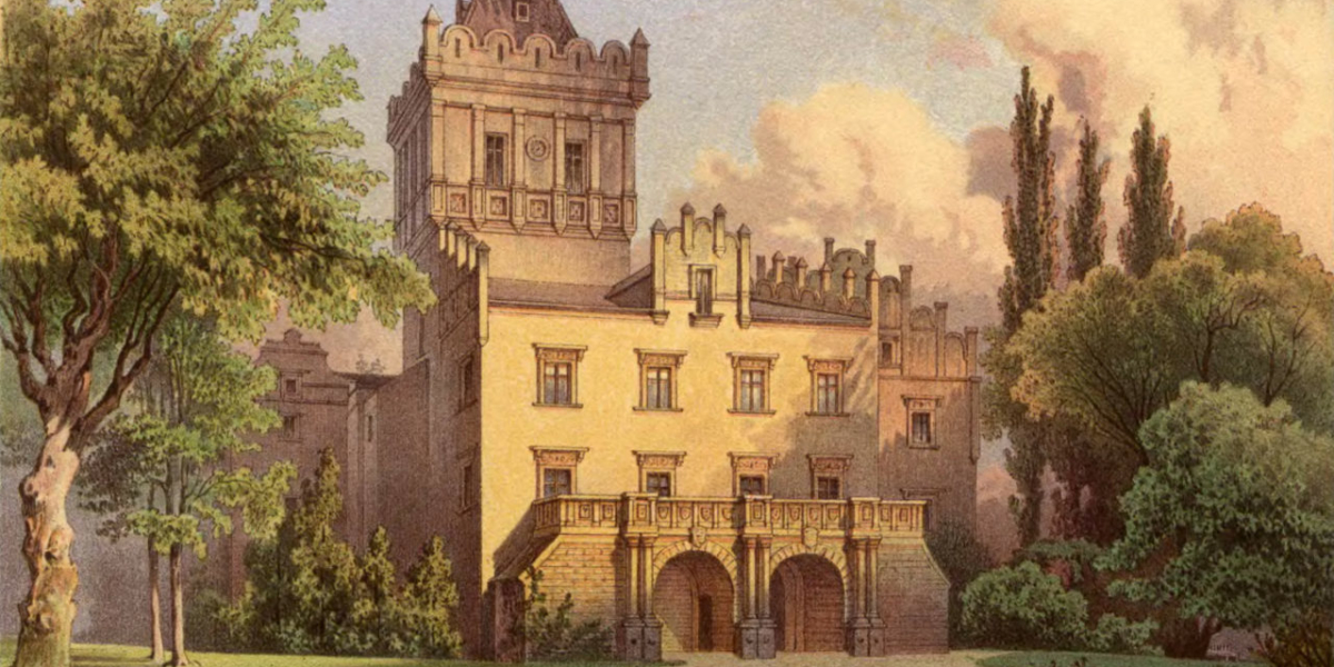 Zamek Grodztwo (Schloss Kreppelhof) druga połowa XiX wieku. Źródło: Theodor Albert (Magdeburg 1822-1867, Theodor Blätterbauer, Alexander Duncker (1813-1897), Wikipedia