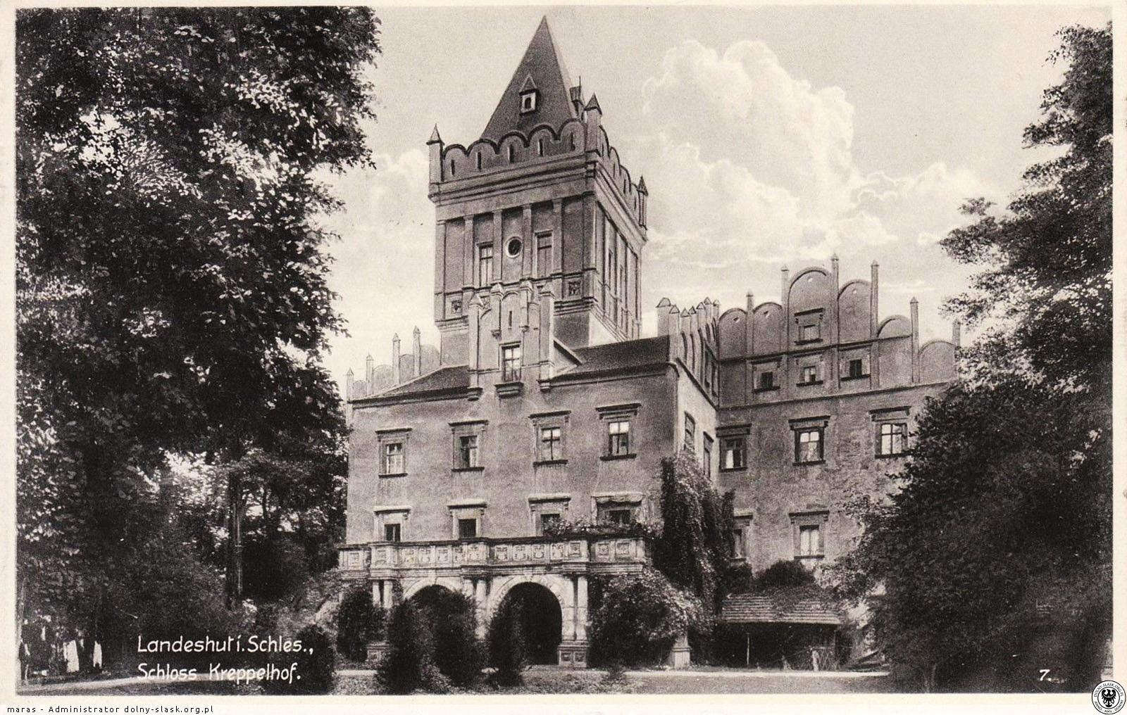 Zamek Grodztwo (Schloss Kreppelhof) 1930 r. Źródło: polska-org.pl