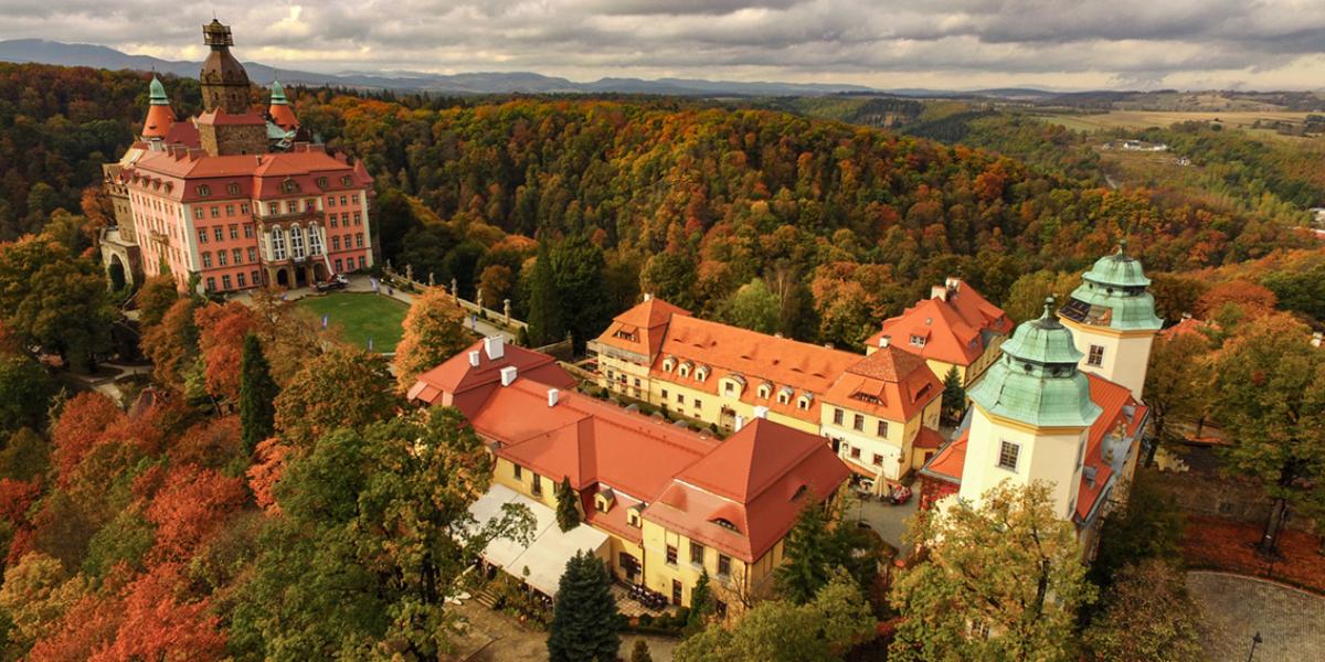 Zamek Książ z lotu ptaka