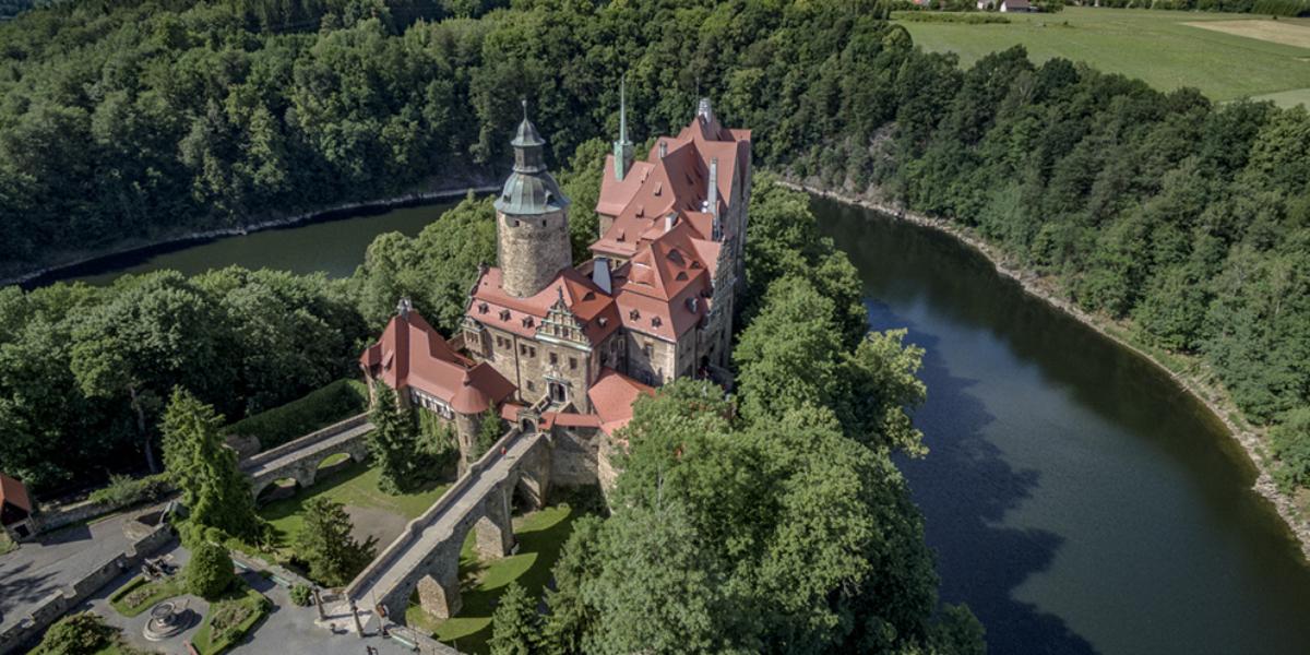 Zamek Czocha z lotu ptaka